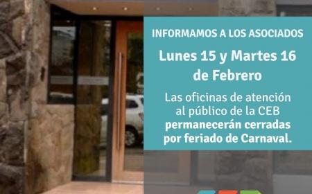 Lunes 15 y Martes 16 de Febrero: Cerrado por feriado de Carnaval.
